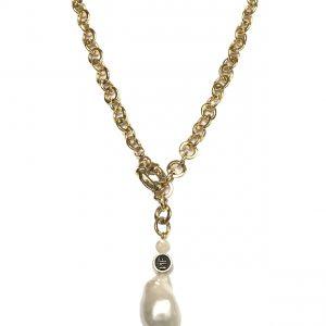 Collar cadena con broche marinero y perla barroca